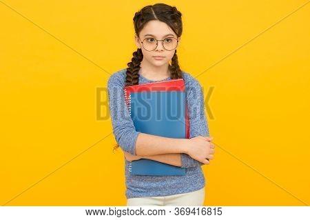Buy Textbooks. Private Schooling. Cute Smiling Schoolgirl. Girl Little Schoolgirl. Pupil With Braids