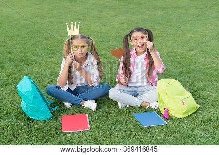 Funny And Happy Sisters With Party Attributes. Writing Girlish Diary. Childhood Memories. Having Res