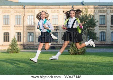 Stay Active. Active Girls Run From School. Happy Kids Afterschool. Active Childhood. School Holidays