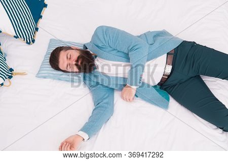 Recovery And Recharging. Feel Tired And Sleepy. Sleepy Guy In Formal Clothes Sleep Bed Top View. Lac