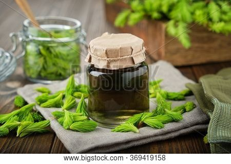 Bottle Of Infusion, Liquid Chlorophyll Or Drink From Fir Buds And Needles, Jar Of Spruce Tips And Wo