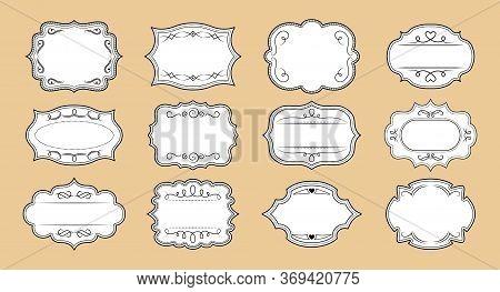 Label Ornamental Craft Frames Set. Elegant Royal Ornate Sticker Tag. Decorative Vintage Empty Curly