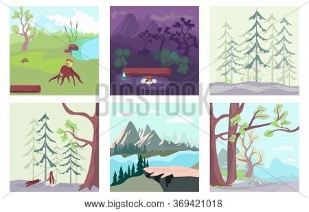 Set Of Summer Nature Background. Night Bonfire On The Forest Glade, Path In A Pine Forest, Mountains