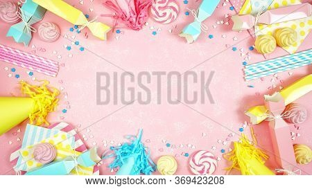 Happy Birthday Party Theme Creative Layout Flat Lay With Negative Copy Space.