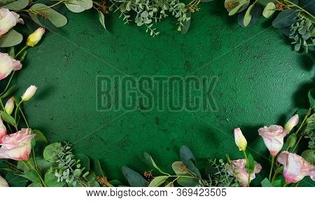 Dark Green Aesthetic Nature Theme Creative Layout Flat Lay Background.