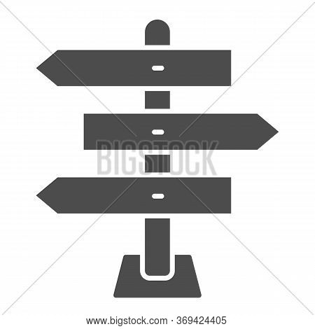 Wooden Arrow Signboards Solid Icon, Travel Concept, Wooden Way Direction Sign On White Background, G