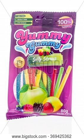 Winneconne,  Wi - 2 June 2020: A Package Yummy Gummy Silly Straws Candy On An Isolated Background