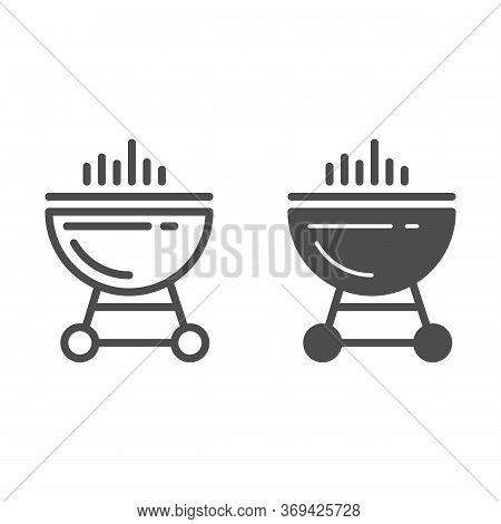 Bbq Grill Line And Solid Icon, Summer Concept, Barbecue Sign On White Background, Grill Icon In Outl