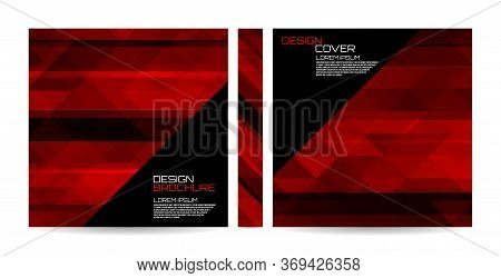 Brochure Template With Red Striped Overlapping Diagonal Triangles. Magazine, Poster, Book, Presentat