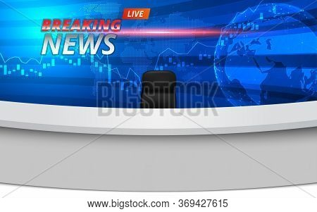White Table And Chairs With Breaking News Live On Lcds Background In The News Studio Room