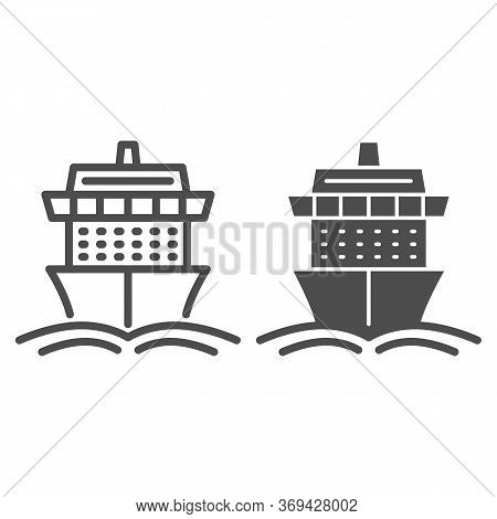 Cruise Ship Line And Solid Icon, Summer Journey Concept, Ship With Waves Sign On White Background, C