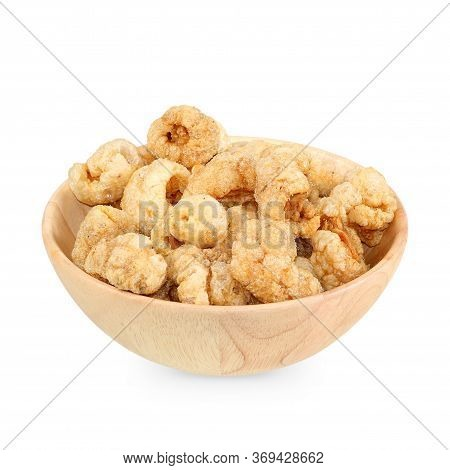 Pork Snack, Pork Rind Isolated On White Background