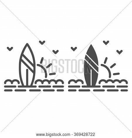 Surfboard And Beach With Sunset Line And Solid Icon, Summer Concept, Surf Sign On White Background,