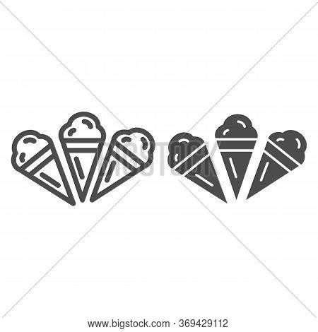 Three Ice Creams Line And Solid Icon, Summer Concept, Set Of Ice Cream Cones Sign On White Backgroun