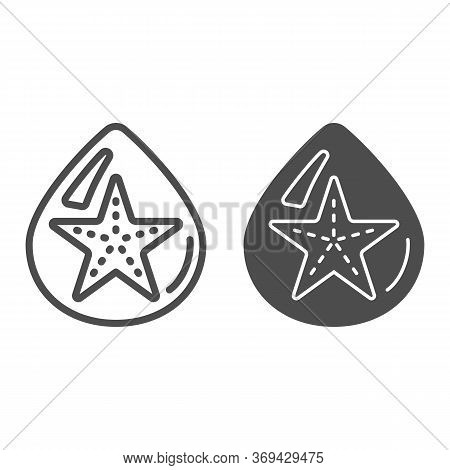 Starfish In Drop Of Water Line And Solid Icon, Summer Concept, Starfish Sign On White Background, Dr