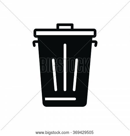 Black Solid Icon For Trash Dustbin  Garbage  Waste  Recycle  Dump
