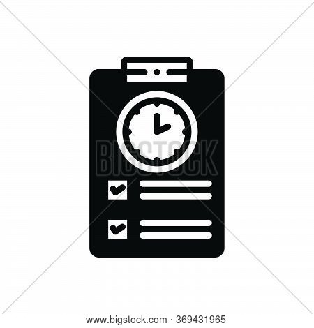 Black Solid Icon For Timesheet Countdown Overtime Schedule Timetable Timekeeping