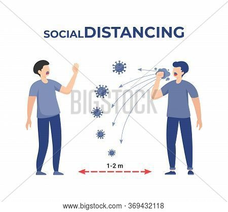 Two Men Standing 2 Meters Apart, One People Coughing Make A Virus Spreading. Illustration About Soci