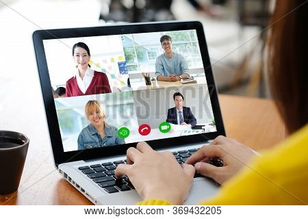 Video Conference, Work From Home, Asian Man And Woman Making Video Call To Business Team With Virtua