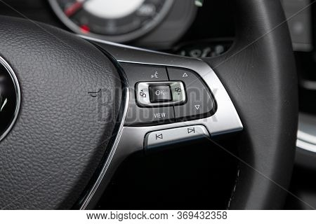 Novosibirsk/ Russia - March 15, 2020: Volkswagen Touareg,car Controller On Steerling Wheel ,music,co