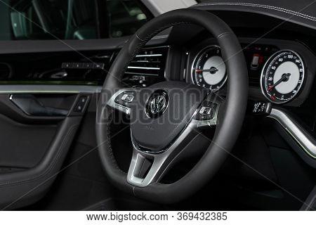 Novosibirsk/ Russia - March 15, 2020: Volkswagen Touareg, Luxury Car Interior - Steering Wheel, Shif