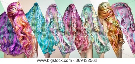 Beauty Fashion Model Girl With Colorful Dyed Hair. Girl With Perfect  Hairstyle. Model With Perfect