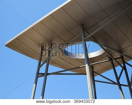 Modern Futuristic Design Metal Pergola Arbor With Clear Blue Sky At The Left Ready For Graphics