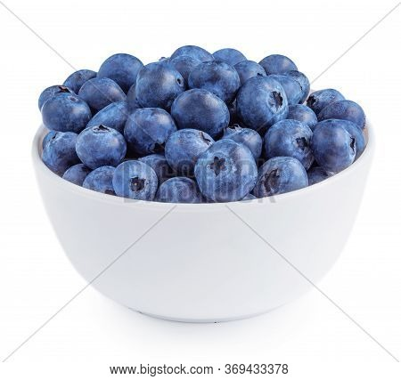 Blueberries Isolated On White Background. Freshly Picked Blueberries In A Bowl. Bilberry Antioxidant