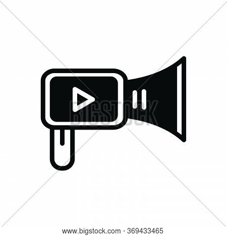 Black Solid Icon For Video-marketing Video Marketing Production Broadcasting Promotion Multimedia Pu