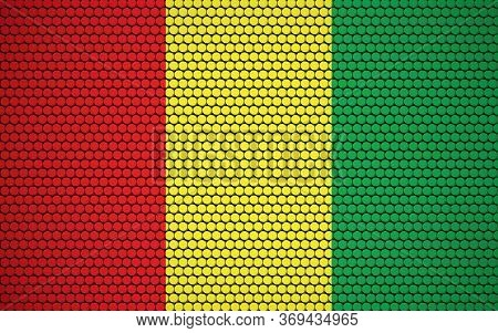 Abstract Flag Of Guinea Made Of Circles. Guinean Flag Designed With Colored Dots Giving It A Modern