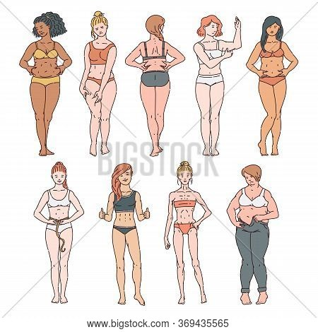 Set Of Women Of Different Weights And Races In Underwear, Bras And Panties.