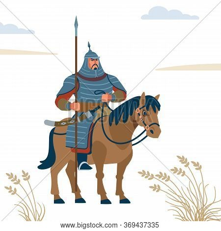 Mongol Warrior. Strong Warrior Character Vector Isolated Flat Style Illustration.
