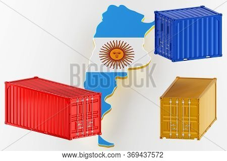 3d Map Of Argentina. Freight Shipping In Containers. Export From The Country In Containers. 3d Rende