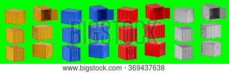 A High Quality Image Of 10ft Shipping Containers On A Green Background With Clipping Path. Set Ten F