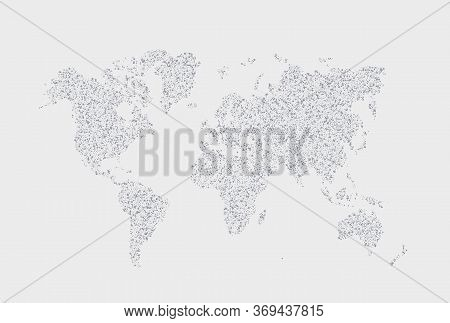 Vector Dotted Hand Written World Map Illustration. Point And Geometrical Form, Structure Noise Of Po