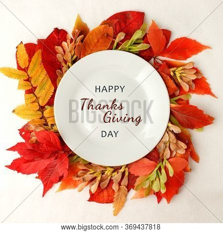 Happy Thanksgiving Day Autumn Composition Background. Bright Leaves. Flatlay Background, Thanksgivin