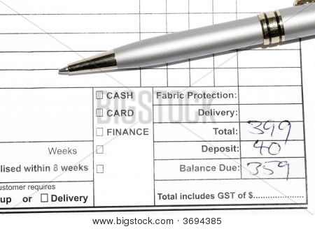 Pen On Invoice