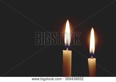 Light The Room Dark. Candle Lit In The Dark, Candle Flame At Night, Lighting Design For Background,
