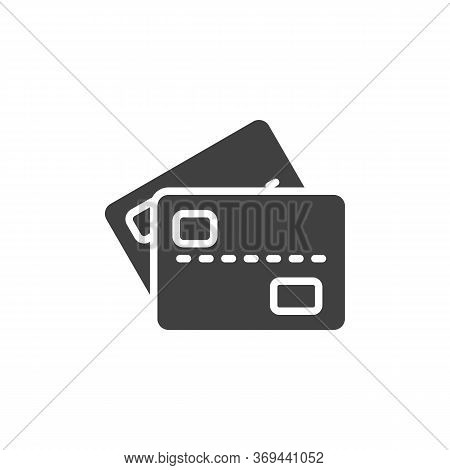Two Credit Cards Vector Icon. Filled Flat Sign For Mobile Concept And Web Design. 2 Bank Cards Glyph