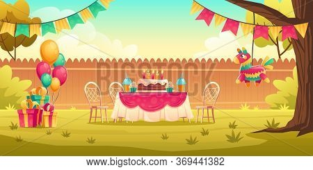 Birthday Party Decoration On Yard. Flags Garland, Balloons, Table And Chairs For Celebration Kids An