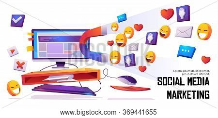 Social Media Marketing Banner. Smm Strategy Campaign, Magnet Attracting Audience, Likes, Feedbacks A