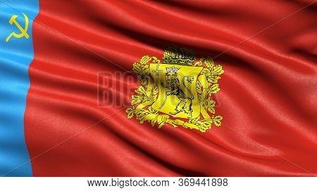 Flag of Vladimir Oblast waving in the wind. 3D illustration.