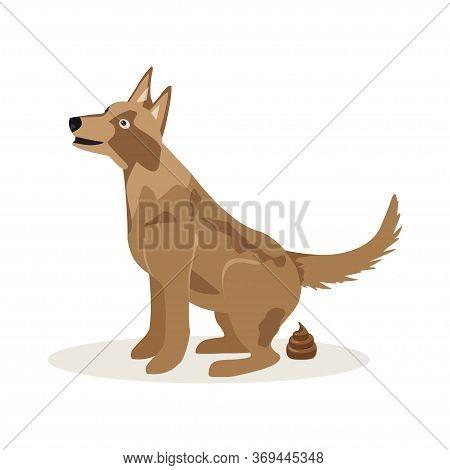 Dog Poop Sign. Shitting Is Allowed. Poo Poo. Vector Illustration Om White Background