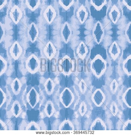 Blue Tie Dye Background. Seamless Vector Pattern Tie Dye Shibori Print. Ink Textured Background, Jap