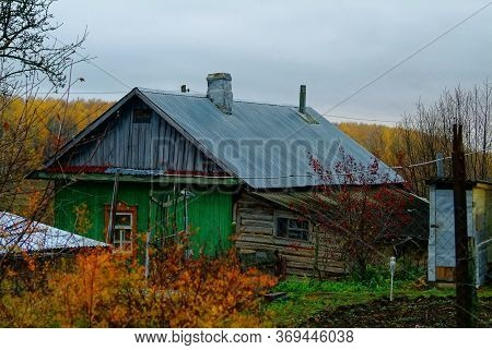 Old Houses In The Village Of Autumn, Russia