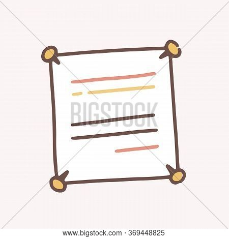 Hand Drawn Note Paper With Line Attached With Four Drawing Pin Vector Flat Illustration. Colorful No
