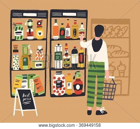 Man Shopper With Basket Choosing Product At Grocery Store Vector Flat Illustration. Male Enjoying Sh