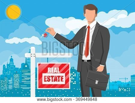 Businessman Or Realtor Holding Key. Wooden Placard With Real Estate Sign. Mortgage, Property And Inv