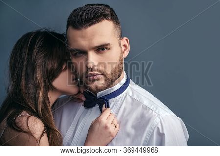 Sensual Couple Kiss. Young Lovers. I Love You. Fashion Studio Photo Of Beautiful Couple Embracing Ea