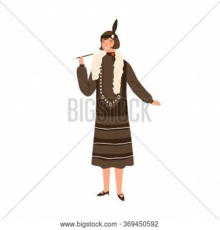 Pretty Woman In Vintage Apparel Hold Mouthpiece Vector Flat Illustration. Smiling Stylish Female Dem